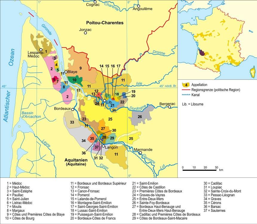 Carte des vignobles et des appelations de bordeaux